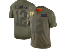 Mens Women 2019 New Nfl Green Bay Packers #12 Aaron Rodgers Green Salute To Service Limited Jersey