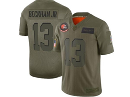 Mens Women 2019 New Nfl Cleveland Browns #13 Odell Beckham Jr Green Salute To Service Limited Jersey