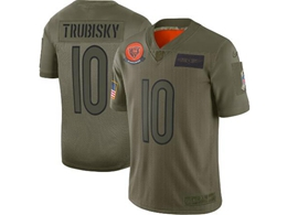 Mens Women 2019 New Nfl Chicago Bears #10 Mitchell Trubisky Green Salute To Service Limited Jersey