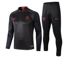 Mens Jordan 19-20 Soccer Paris Saint Germain Dark Grey Training And Dark Grey Sweat Pants Training Suit ( Half Zipper )