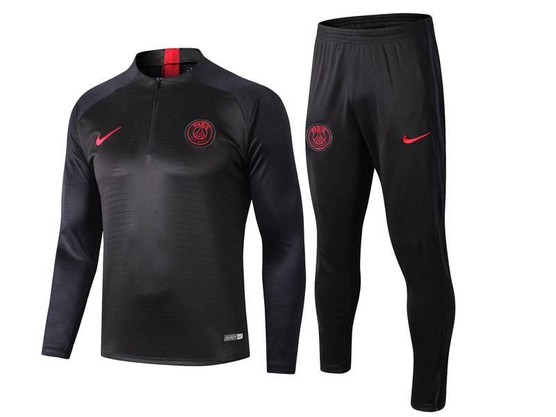 Mens Jordan 19-20 Soccer Paris Saint Germain Dark Grey Training And Dark Grey Sweat Pants Training Suit ( Half Zipper )