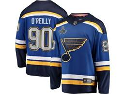 Mens Nhl St.louis Blues #90 Ryan O'reilly Blue 2019 Stanley Cup Champions Patch Player Jersey
