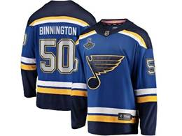 Mens Nhl St.louis Blues #50 Jordan Binnington Blue 2019 Stanley Cup Champions Patch Player Jersey
