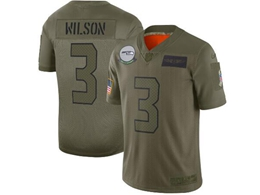 Mens Women 2019 New Nfl Seattle Seahawks #3 Russell Wilson Green Salute To Service Limited Jersey