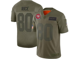 Mens Women 2019 New Nfl San Francisco 49ers #80 Jerry Rice Green Salute To Service Limited Jersey