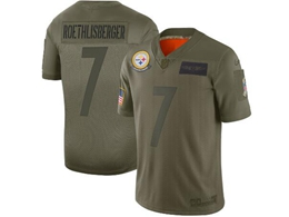 Mens Women 2019 New Nfl Pittsburgh Steelers #7 Ben Roethlisberger Green Salute To Service Limited Jersey
