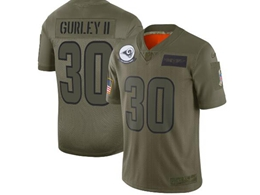 Mens Women 2019 New Nfl Los Angeles Rams #30 Todd Gurley Ii Green Salute To Service Limited Jersey