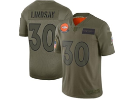 Mens Women 2019 New Nfl Denver Broncos #30 Phillip Lindsay Green Salute To Service Limited Jersey