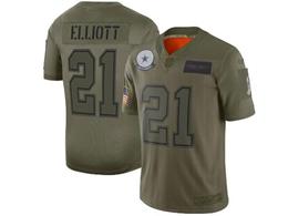 Mens Nfl Dallas Cowboys #21 Ezekiel Elliott Green 2019 Salute To Service Limited Jersey