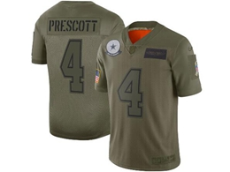 Mens Women Youth 2019 New Nfl Dallas Cowboys #4 Dak Prescott Green Salute To Service Limited Jersey