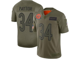 Mens Women 2019 New Nfl Chicago Bears #34 Walter Payton Green Salute To Service Limited Jersey