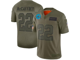 Mens Women 2019 New Nfl Carolina Panthers #22 Christian Mccaffrey Green Salute To Service Limited Jersey