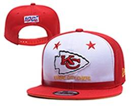 Mens Nfl Kansas City Chiefs White & Red 100th Snapback Adjustable Hats