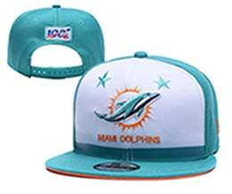Mens Nfl Miami Dolphins White & Green 100th Snapback Adjustable Hats
