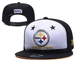 Mens Nfl Pittsburgh Steelers White & Black 100th Snapback Adjustable Hats