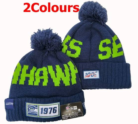 Mens Nfl Seattle Seahawks 100th New Sport Knit Hats 2 Colors