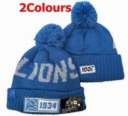 Mens Nfl Detroit Lions 100th New Sport Knit Hats 2 Colors