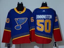 Mens Nhl St.louis Blues #50 Jordan Binnington Blue With Red Adidas Player Jersey