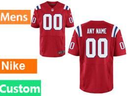 Mens New England Patriots Red Elite Custom Made Jersey