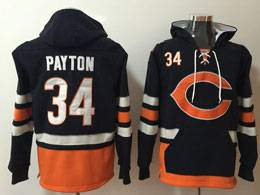 Mens Nfl Chicago Bears #34 Walter Payton Blue With Pocket Hoodie Jersey