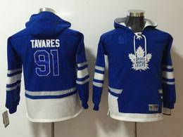 Youth Nhl Toronto Maple Leafs #91 John Tavares Blue Pocket Hoodie Jersey