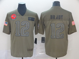 Mens New England Patriots #12 Tom Brady Green 2019 Salute To Service Limited Jersey