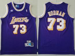 Mens Nba Los Angeles Lakers #73 Dennis Rodman Purple Hardwood Classics Swingman Jersey
