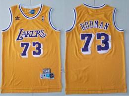 Mens Nba Los Angeles Lakers #73 Dennis Rodman Yellow Adidas Hardwood Classics Swingman Jersey