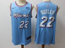 Mens Nba Miami Heat #22 Jimmy Butler Light Blue Residual Edition Nike Jersey