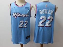 Mens Nba Miami Heat #22 Jimmy Butler Light Blue Residual Edition Nike Jersey