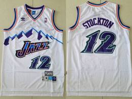Mens Nba Utah Jazz #12 John Stockton White Adidas Hardwood Classics Swingman Jersey