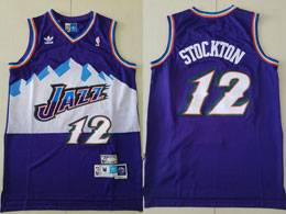 Mens Nba Utah Jazz #12 John Stockton Purple Adidas Hardwood Classics Swingman Jersey