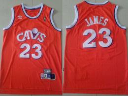 Mens Nba Cleveland Cavaliers #23 Lebron James Orange Adidas Hardwood Classics Swingman Jersey