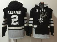 Mens Nba San Antonio Spurs #2 Kawhi Leonard Black With Pocket Hoodie Jersey