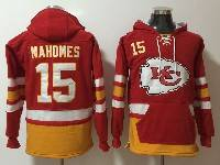 Mens Nfl Kansas City Chiefs #15 Patrick Mahomes Red With Pocket Hoodie Jersey