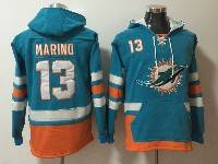 Mens Nfl Miami Dolphins #13 Dan Marino Green With Orange Pocket Hoodie Jersey