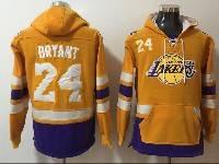 Mens Nba Los Angeles Lakers #24 Kobe Bryant Yellow With Pocket Hoodie Jersey