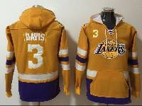 Mens Nba Los Angeles Lakers #3 Anthony Davis Yellow With Pocket Hoodie Jersey