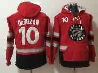 Mens Nba Toronto Raptors #10 Demar Derozan Red With Black Pocket Hoodie Jersey