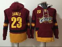 Mens Nba Cleveland Cavaliers #23 Lebron James Red With Pocket Hoodie Jersey