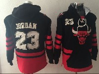 Mens Nba Chicago Bulls #23 Michael Jordan Black With Pocket Hoodie Jersey