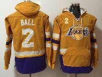 Mens Nba Los Angeles Lakers #2 Lonzo Ball Yellow With Pocket Hoodie Jersey