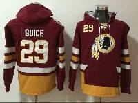 Mens Nfl Washington Redskins #29 Derrius Guice Red With Pocket Hoodie Jersey