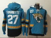 Mens Nfl Jacksonville Jaguars #27 Leonard Fournette Blue With Pocket Hoodie Jersey