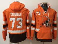 Mens Nfl Cleveland Browns #73 Joe Thomas Orange With Pocket Hoodie Jersey