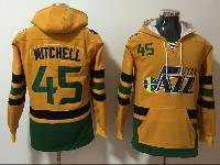 Mens Nba Utah Jazz #45 Donovan Mitchell Yellow With Pocket Hoodie Jersey