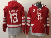 Mens Nba Houston Rockets #13 James Harden Red With Pocket Hoodie Jersey