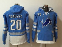 Mens Nfl Detroit Lions #20 Barry Sanders Blue With Pocket Hoodie Jersey