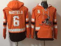 Mens Nfl Cleveland Browns #6 Baker Mayfield Orange With Pocket Hoodie Jersey