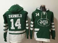 Mens Nfl New York Jets #14 Sam Darnold Green With Pocket Hoodie Jersey